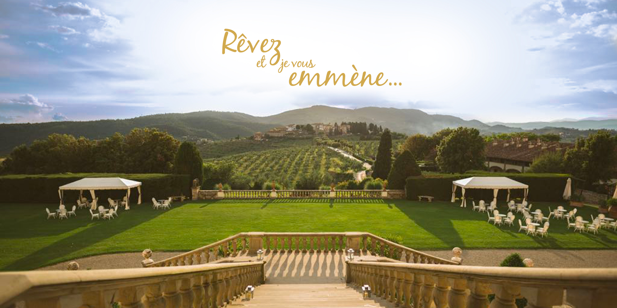 Escalier majestueux avec vue sur les vignes