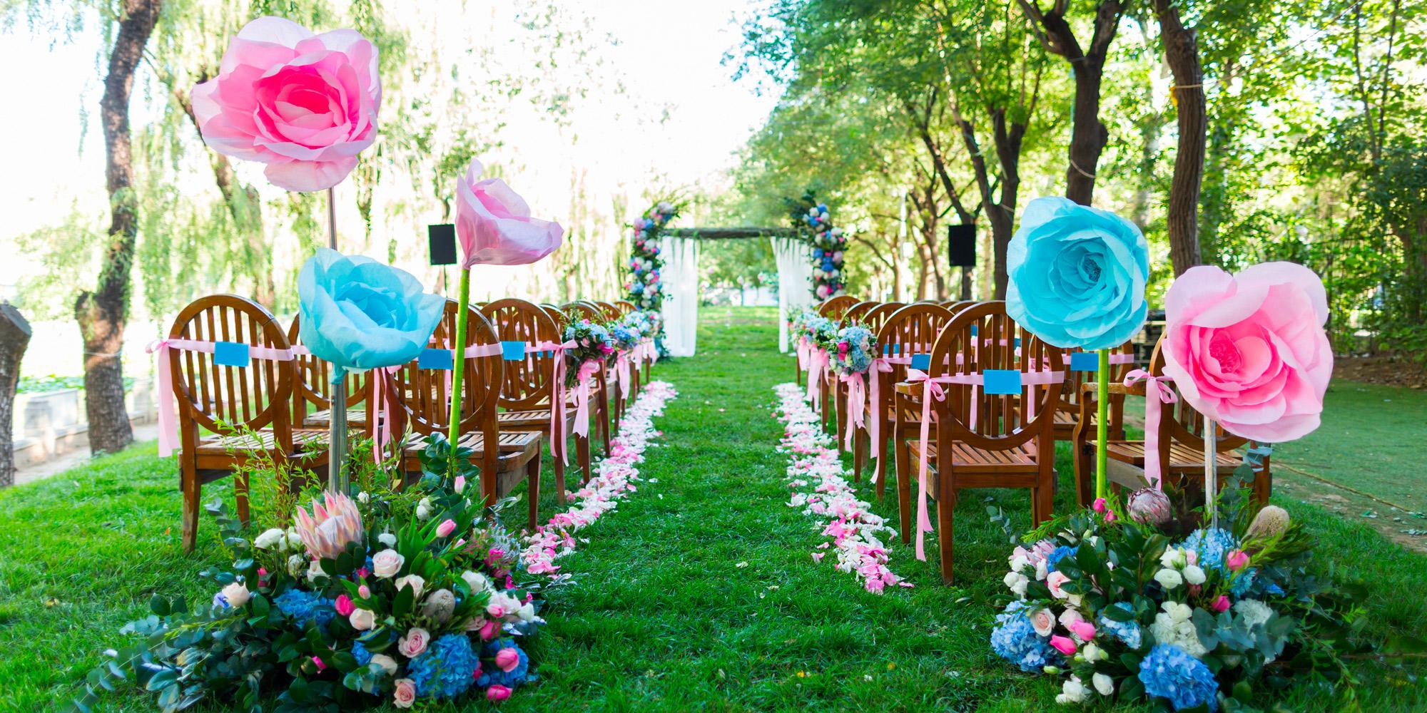 jardin rose et bleu