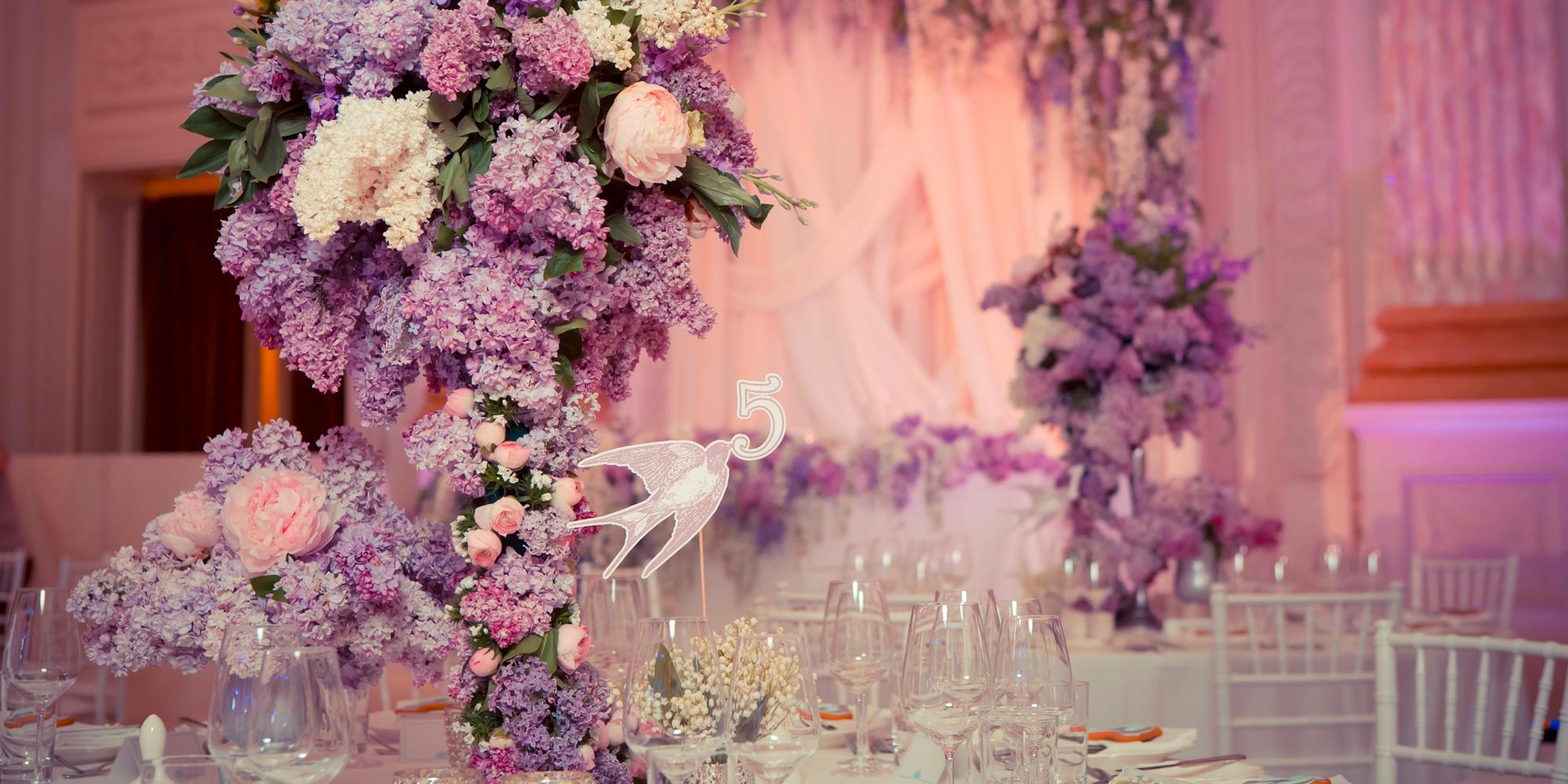 décoration de table violet et mauve